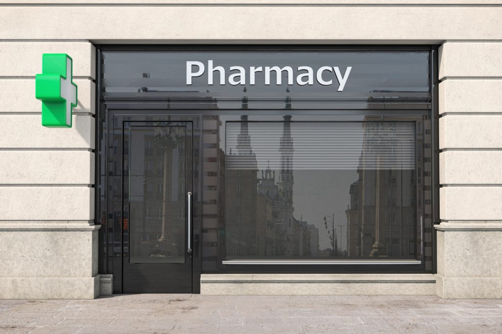 Pharmacy store or drugstore exterior design.